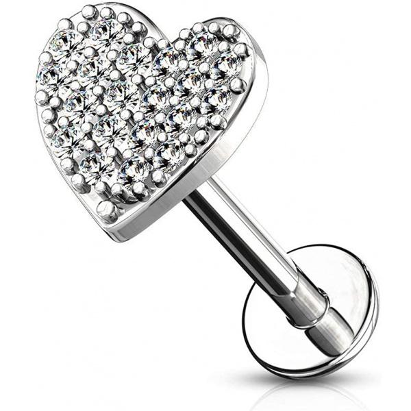 16g 6-8mm Internally Threaded Surgical Steel Cartilage/Tragus/Labret/Monroe Piercing Stud w/CZ Heart Top, Forbidden Body Jewelry