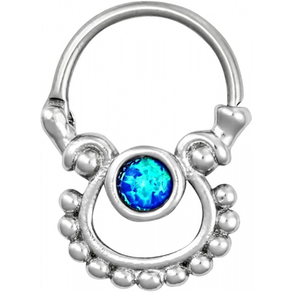 16g Septum Jewelry Surgical Steel Simulated Blue Opal Gem Stone Door Knocker Septum Clicker Ring, Forbidden Body Jewelry