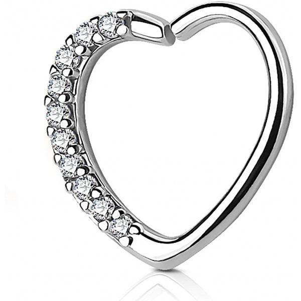 16g CZ Lined Heart Hoop Cartilage Piercing Earring (Right Ear Only), Forbidden Body Jewelry