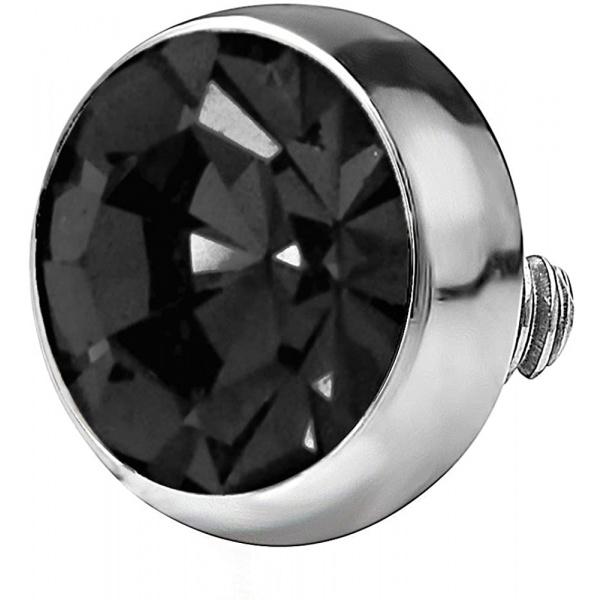 14g 316L Internally Threaded Ultra Thin Flat Disc Black 4.4 mm Gem Top for Dermal Piercing, Forbidden Body Jewelry
