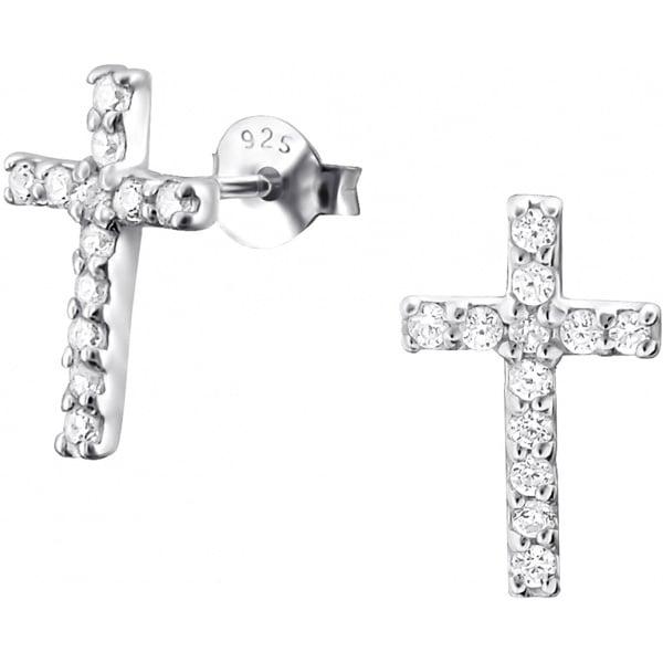 .925 Sterling Silver .55 cttw CZ Simulated Diamond Cross Stud Earrings, Forbidden Body Jewelry