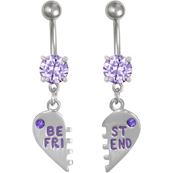 Surgical Steel Set of Best Friend Matching Purple Gem Dangle Heart Belly Button Rings, Forbidden Body Jewelry