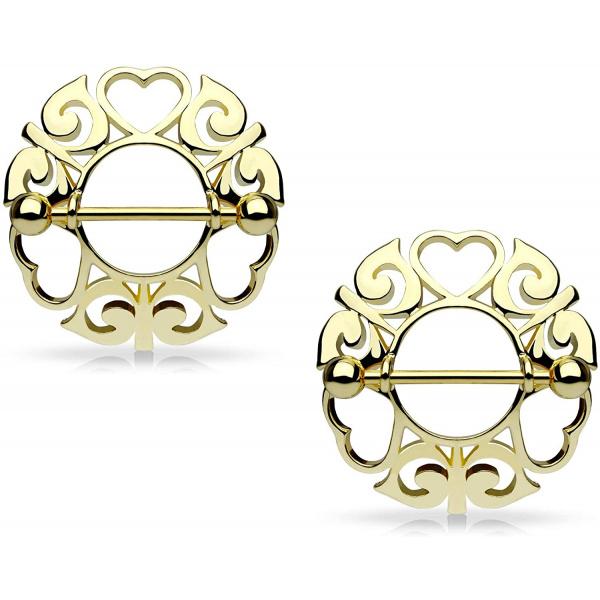 Pair of Surgical Steel Tribal Heart Nipple Piercing Shields, 9/16 Inch Barbells, Forbidden Body Jewelry
