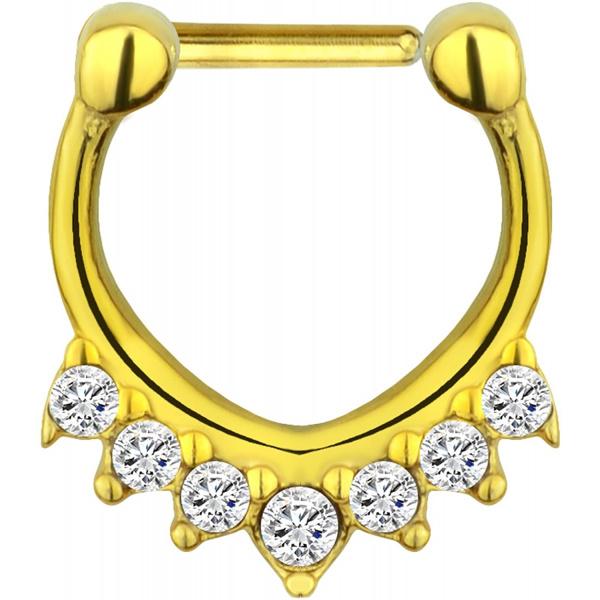 16g Surgical Steel CZ Crystal Fan Hanger Design Septum Clicker Hoop, Forbidden Body Jewelry