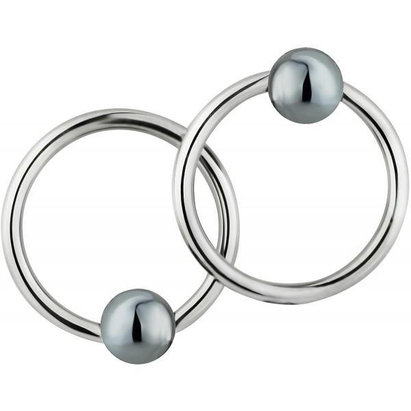 Pair of 2 Rings: 16g 7/16 Inch Surgical Steel Hematite Balls CBR Hoop Earrings, Forbidden Body Jewelry