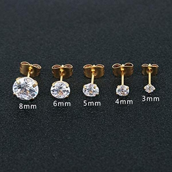 5 Pairs, Cubic Zirconia Hypoallergenic Stainless Steel CZ 3mm-8mm, Forbidden Body Jewelry